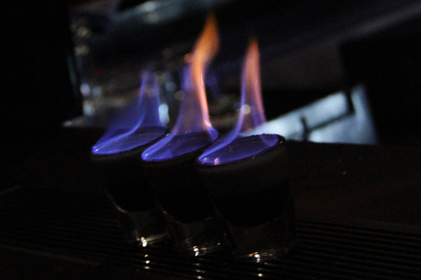 Flaming shots in their earliest stage